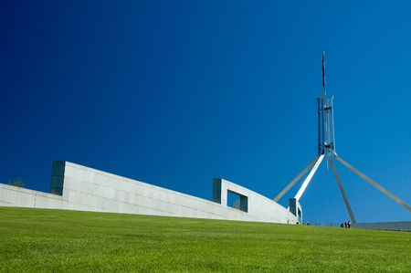 canberra: Canberra Parliament House abstract shapes, clear blue sky Stock Photo