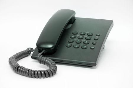 black telephone isolated on white background