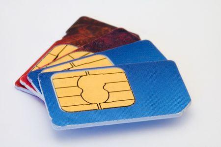 four sim cards detail photo, distance blur