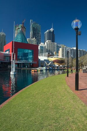 modern buildings near darling harbour in sydney