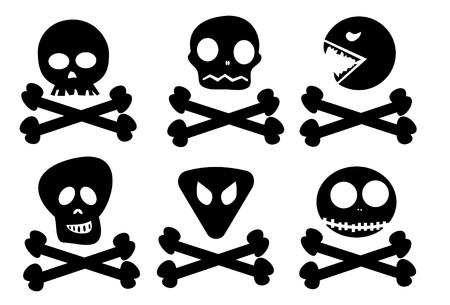 calavera caricatura: Resumen seis calaveras sobre huesos cruzados, color negro