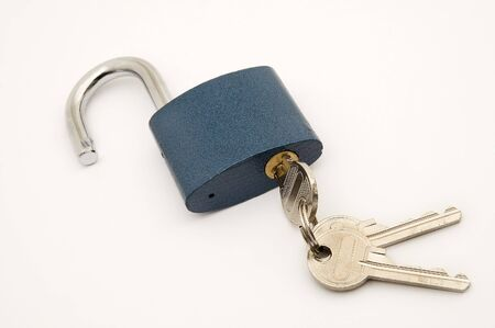 opened lock with key in it on white clear background Stock Photo - 3402265