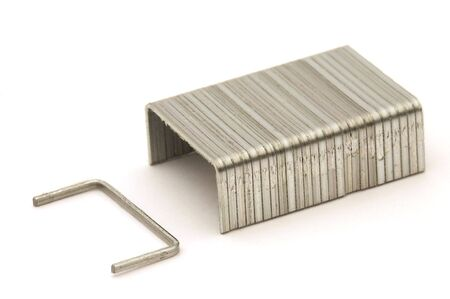 clasps: detail photo of small metal clasps, white background Stock Photo