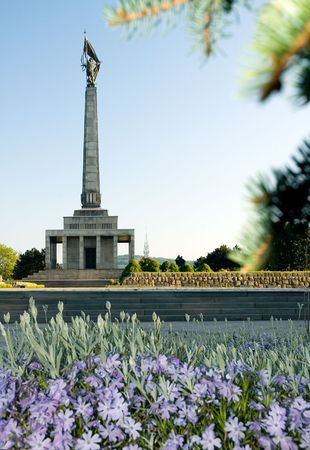 liberating: Slav�n in Bratislava is a memorial monument and cemetery for Soviet Army soldiers who fell during World War II while liberating the city of Bratislava in April 1945 from Nazi German troops. Editorial
