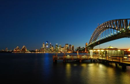 Sydney CBD with Sydney Tower, Opera House and Harbour bridge, dusk