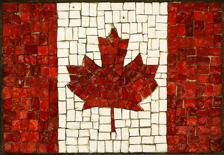 mosaic abstract canadian flag made of small blocks photo