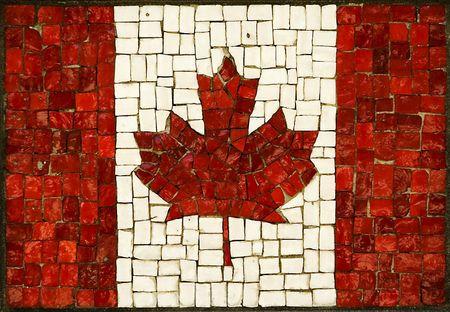 mosaic art: mosaic abstract canadian flag made of small blocks