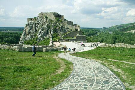 morava: famous ruins of devin castle near bratislava, surounded by rivers dunaj and morava