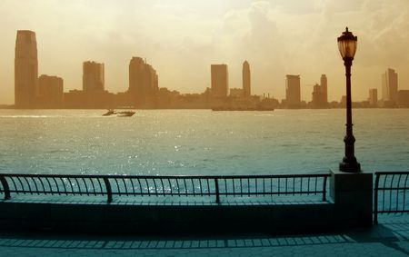 colorized: Jersey City viewed from New York, close to World Financial Center,