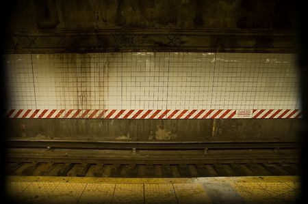 old dirty subway rail background, photo taken in new york Stock Photo