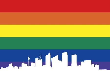 edificios de la ciudad blanca siluetas de Sidney, bandera arco iris en el fondo