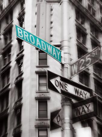 Broadway Street signe vert, noir et blanc, photo, new york Banque d'images