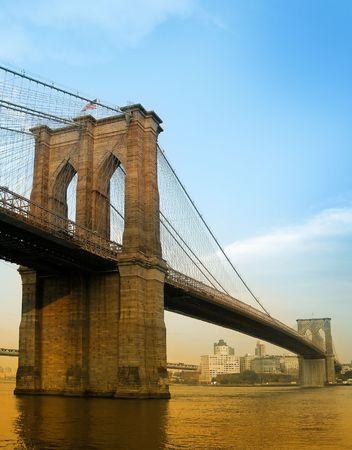 brooklyn bridge colored photo taken from manhattan