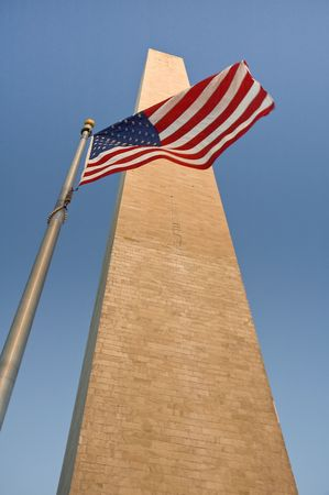 obelisk and waving american flag, photo taken in washington, but can be used as almost any american obelisk :-) Stock Photo - 4388946