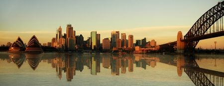 australia: sydney landmarks panorama, evening photo, artificial reflection in water created in computer Stock Photo