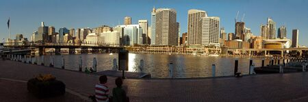 darling harbor panorama photo, pyrmont bridge and sydney tower in picture