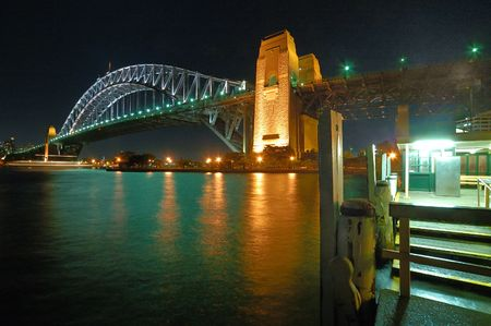 steel bridge: night photo of harbour bridge in sydney