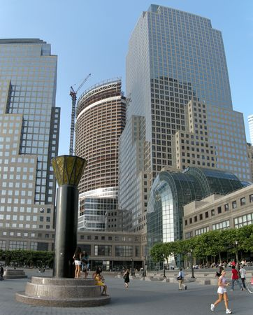 several people in front of modern architecture of world trade and financial center Stock Photo - 4485608