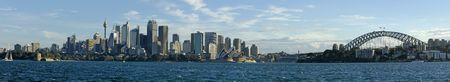 darling: sydney daytime panorama photo, opera house, cbd, sydney tower and harbour bridge. Stock Photo