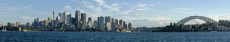 Sydney overdag panorama foto, opera gebouw, cbd, sydney tower en haven brug.  Stockfoto
