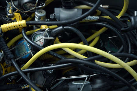 foto de detalle Equipo de buceo, las mangueras y varios instrumentos Foto de archivo - 4732128