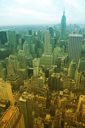 enriched: aerial view of midtown manhattan, enriched colors created by using a photo filter