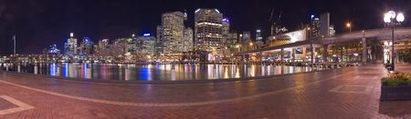 darling: darling harbour at night panorama photo, light reflections