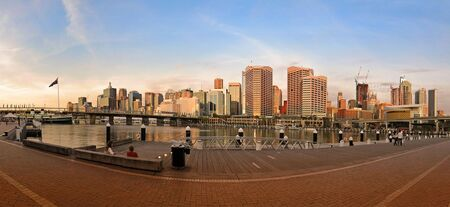 Darling Harbour in Sydney panorama, photo filter  photo