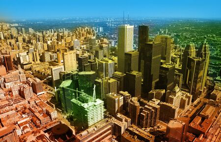 colored aerial photo of toronto, long distance visibility Stock Photo - 4949512
