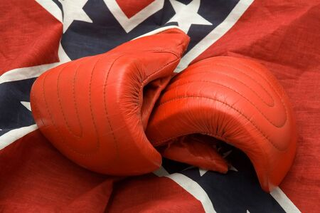 rebel flag: red boxing gloves on Confederate, Rebel, or Dixie Flag