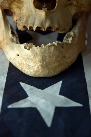 real skull detail on a flag part, one white star photo