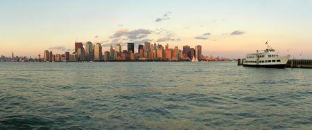 Manhattan panorama photo viewed from jersey city, white passanger boat anchoring, New York, USA Stock Photo - 4993544