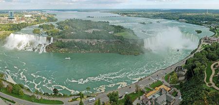 niagara falls panorama photo taken from Skylon tower on Canadian side