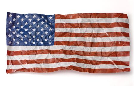 wrinkled paper flag of United States of America, isolated on white background photo