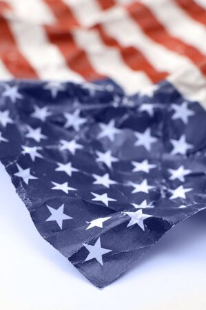 detail photo of wrinkled USA flag, shallow depth of view photo