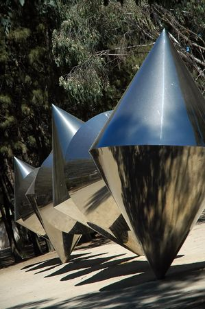 canberra: National Gallery Sculpture Garden - Cones, Canberra, Australia Stock Photo