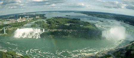 Niagara falls panorama photo taken from canadian side Stock Photo