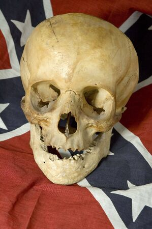 real skull smiling on Confederate, Rebel, or Dixie Flag photo