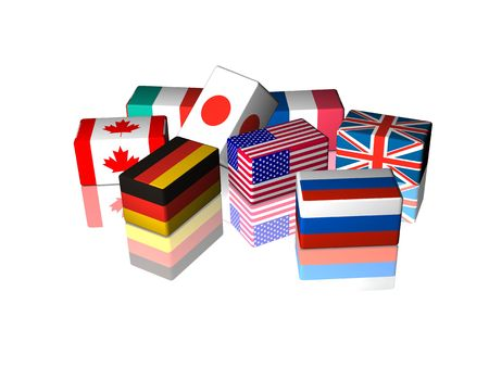 GREAT EIGHT countries, 3d image of cube flags isolated on white reflective background Stock Photo - 5588475