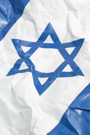 estrella de david: arrugada bandera de Israel, detalles de la foto vertical, David Star Foto de archivo