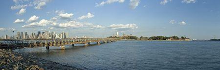 staten: panorama photo of new york scenery - ellis island, manhattan, liberty island Stock Photo