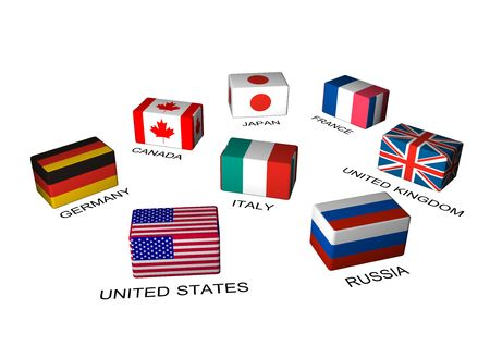 industrialized country: GREAT EIGHT countries, 3d image of cube flags isolated on white reflective background