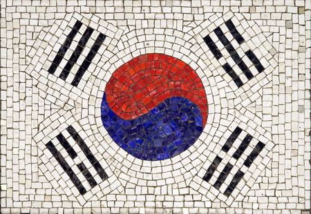 Flag of South Korea made from small tiles photo