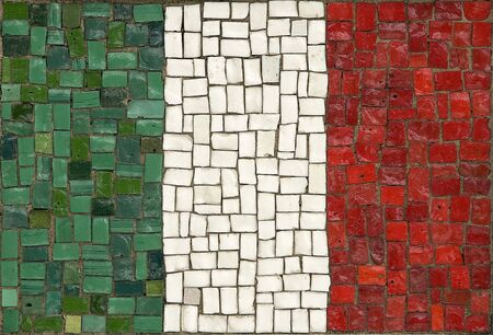 creative flag of ITALY made of small tiles photo