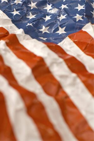 vertical photo of wrinkled paper american flag  photo