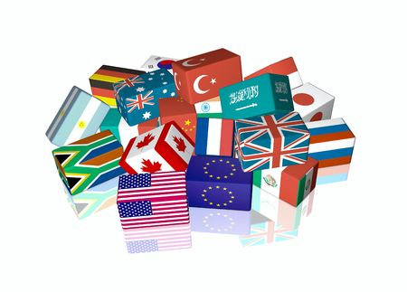 3d cube flags of The Group of Twenty Finance Ministers and Central Bank Governors, called G-20 photo