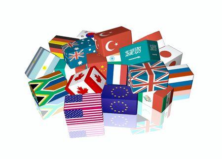 banco mundial: banderas de cubo 3D del grupo The de Ministros de Finanzas XXI y gobernadores del Banco Central, llamado G-20