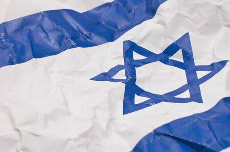 estrella de david: arrugada bandera de israel, la foto de detalle, la estrella de david