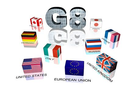 3d flag objects created as Great Eight flags, white background photo
