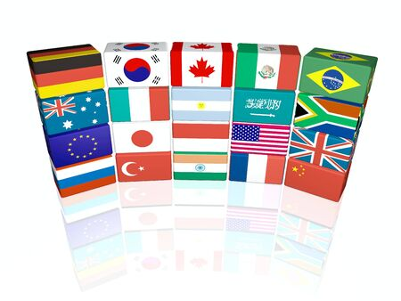g20: 3d flag objects created as Great twenty flags, white background